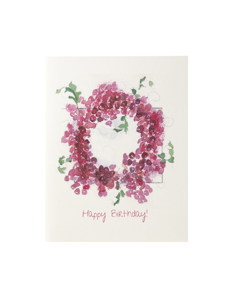 Grace Watercolors Cranberry Wreath Happy Birthday