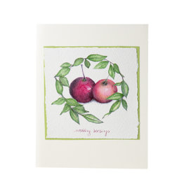 Grace Watercolors Apple Wreath Wedding Wishes