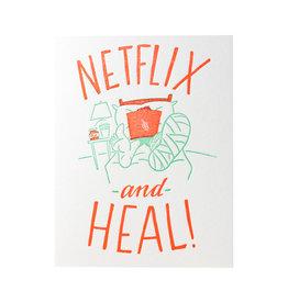Ladyfingers Letterpress Netflix and Heal Letterpress Card