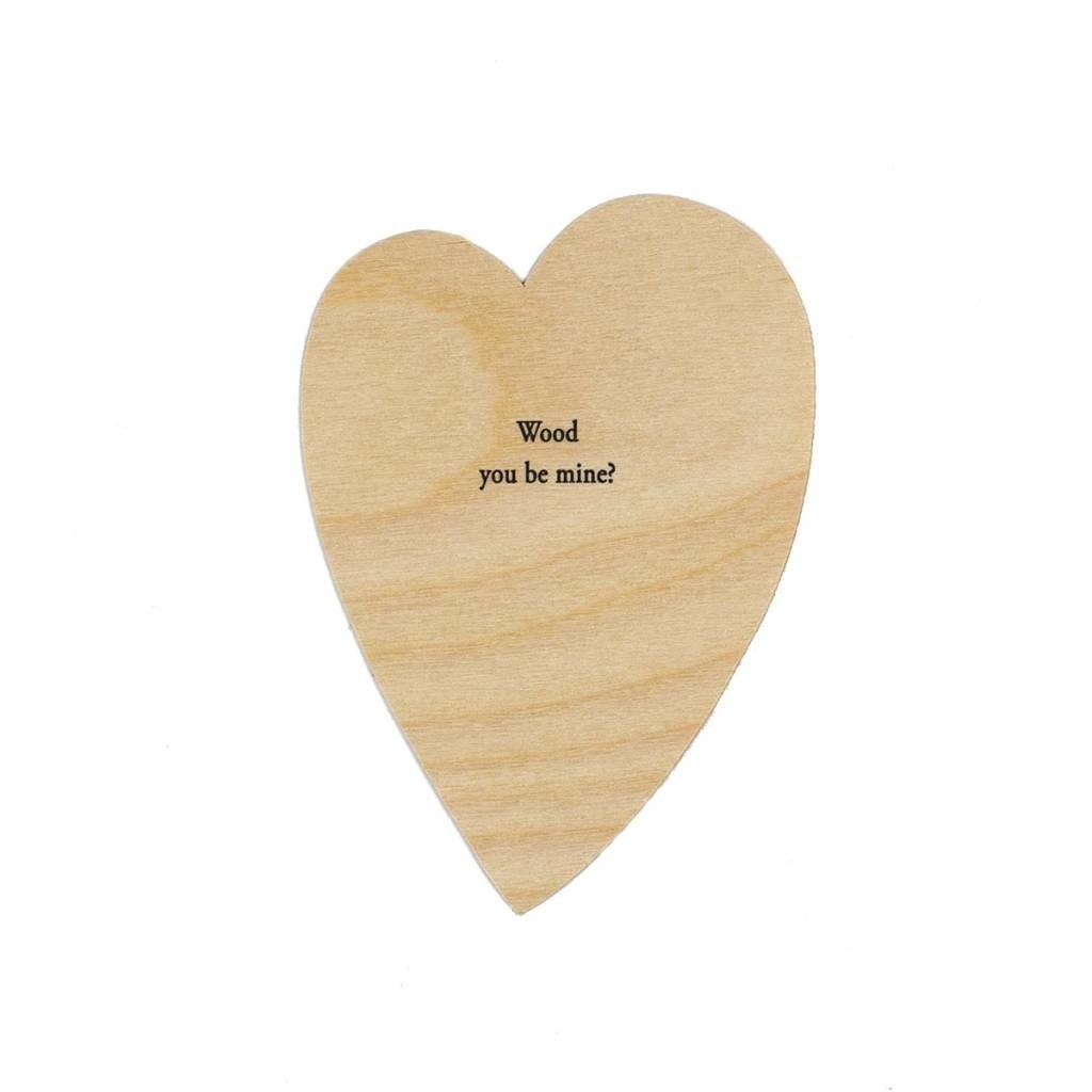 Hat + Wig + Glove Wood you be mine? letterpress wood Heart Card