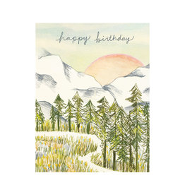 Maija Rebecca Hand Drawn Happy Birthday Spring Mountains