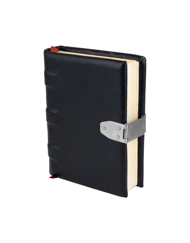 small handmade black leather book