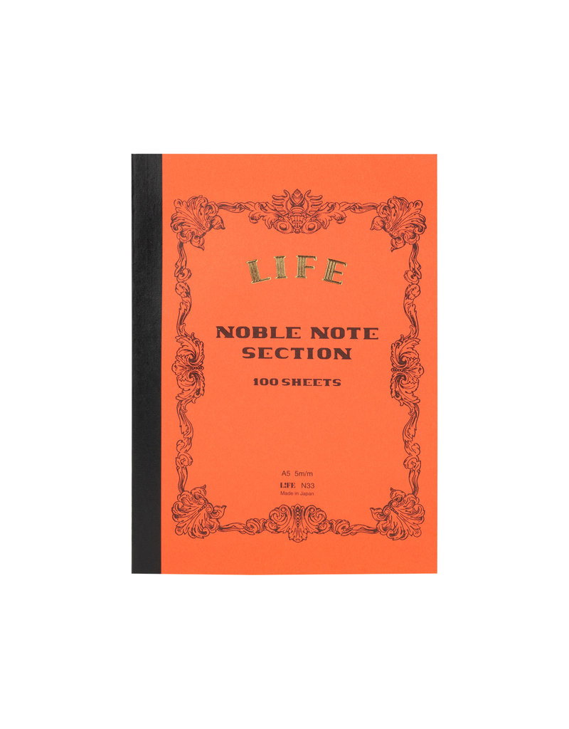 Life Noble Notebook Side Bound Red Grid A5