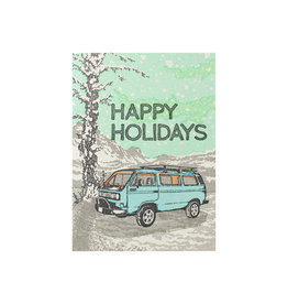 Old School Stationers Happy Holidays Blue VW Van single