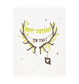 Lark Press Happy Birthday Antlers Letterpress Card
