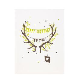 Lark Press Happy Birthday Antlers Letterpress Card