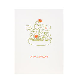 Lark Press Happy Birthday Cactus Letterpress Card