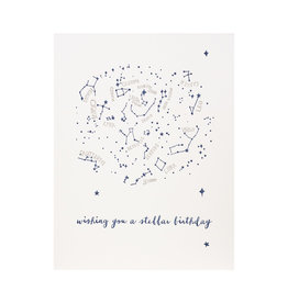 Lark Press wishing you a Stellar Birthday Letterpress Card