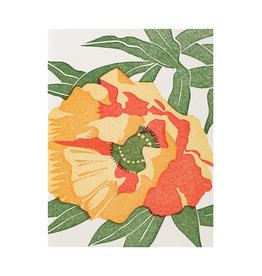 PushMePullYou Press Poppy Flower Letterpress Card
