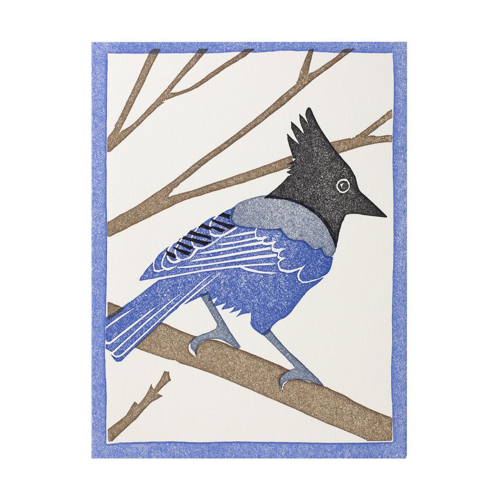 PushMePullYou Press Steller's Jay Letterpress Card