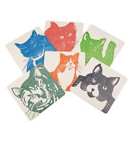 PushMePullYou Press Letterpress Cat Coasters
