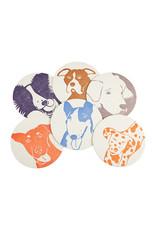 PushMePullYou Press Letterpress Dog Coasters set of 6