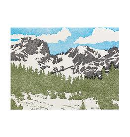 PushMePullYou Press Snowpeaks Letterpress Card