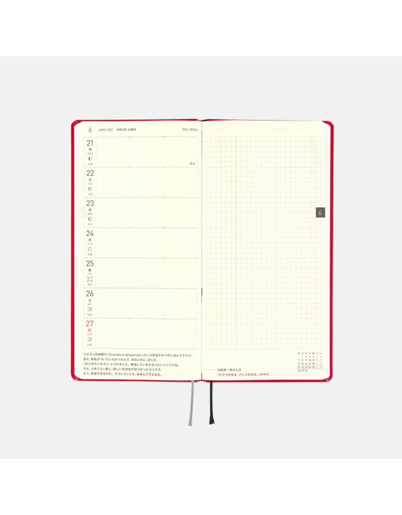 Hobonichi Weeks Mega Deep Red Hobonichi Techo 2021
