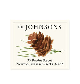 Felix Doolittle pine cone address label