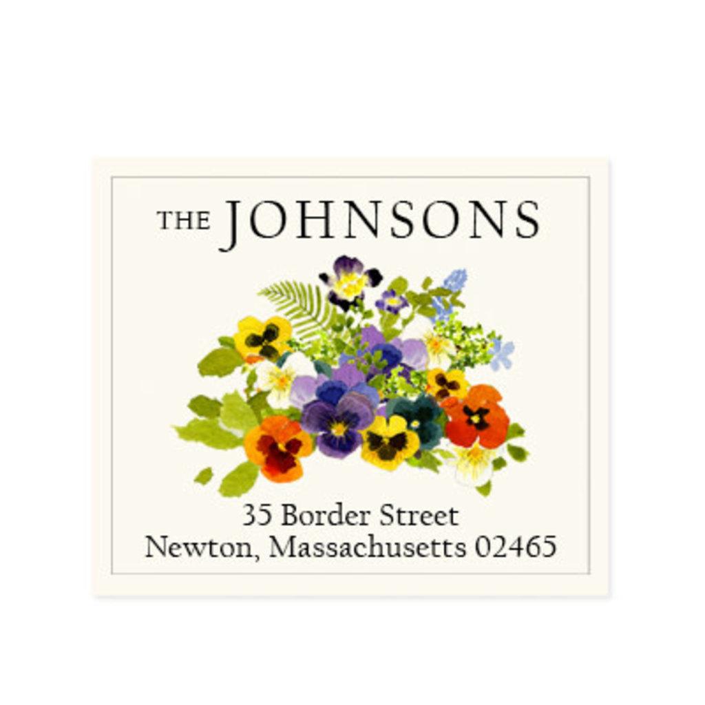 Felix Doolittle spring pansies address label