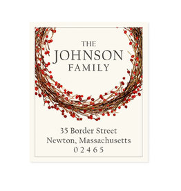 Felix Doolittle winterberry wreath address label