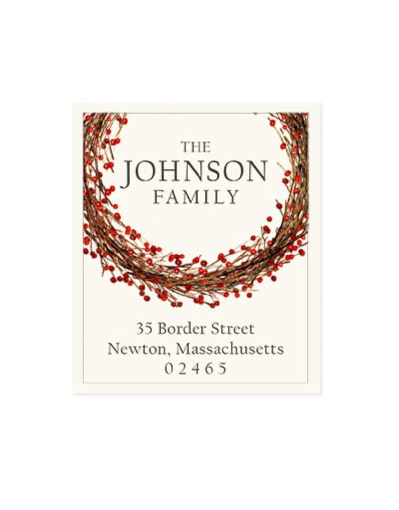 Felix Doolittle winterberry wreath address label