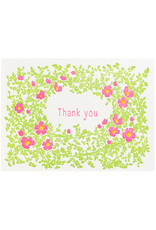Ilee Papergoods Wild Roses Thank You Letterpress Card box of 6