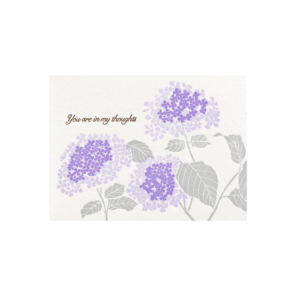 Ilee Papergoods In My Thoughts Hydrangea Letterpress Card