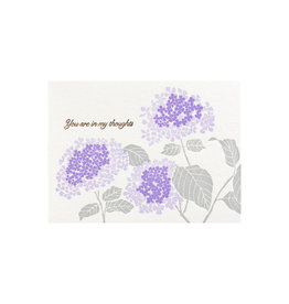 Ilee Papergoods In My Thoughts Hydrangea Letterpress Card