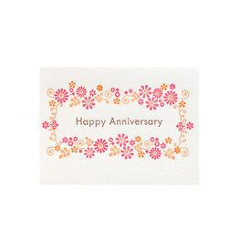 Ilee Papergoods Flower Frame Happy Anniversary Letterpress Card