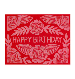 Happy Birthday Block Printed Red