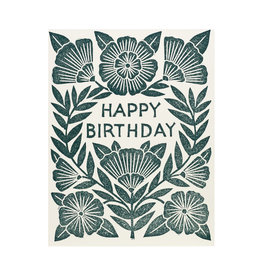 Happy Birthday Block Printed White