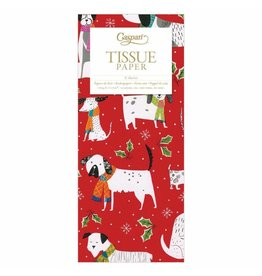 Caspari Christmas Canines Tissue Paper Package 4 Sheets