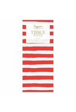 Caspari Painted Stripe Red & White Tissue Paper Package 4 Sheets