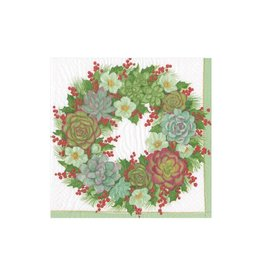Caspari Succulent Wreath Cocktail Napkins