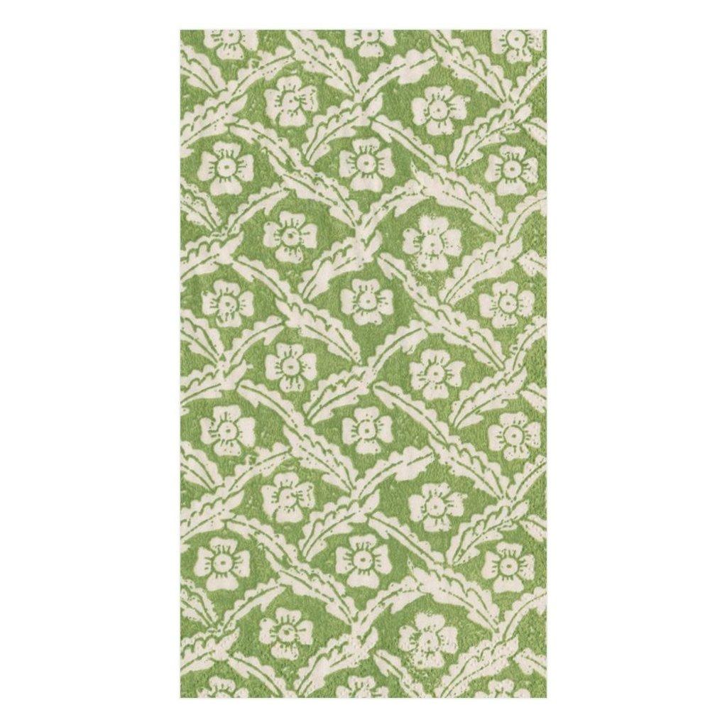 Caspari Green Floral Cross Guest Towel Napkin