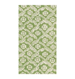 Caspari Green Floral Cross Guest Towel Napkin