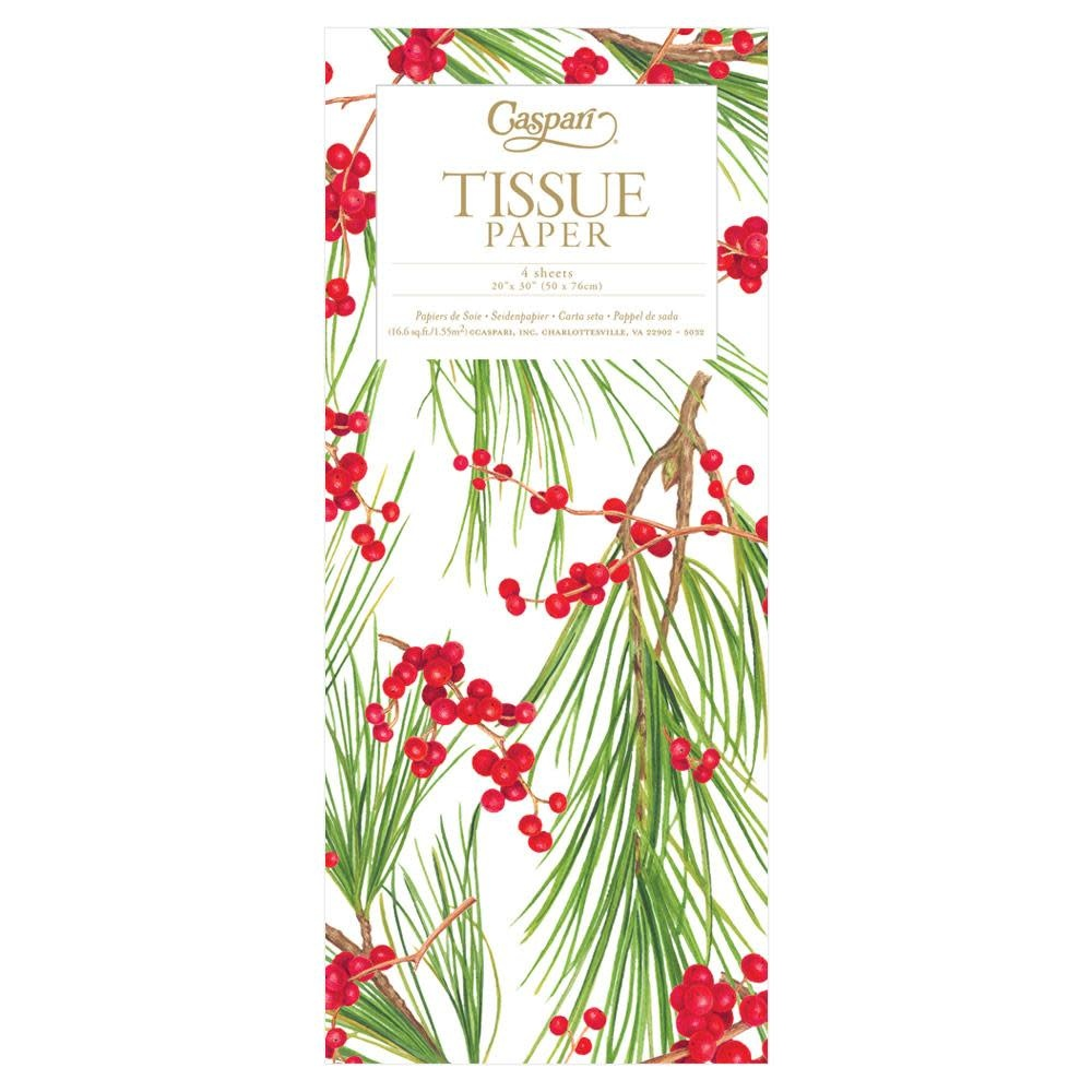Entertaining with Caspari Berry Branches White Tissue Paper Package of 4 Sheets
