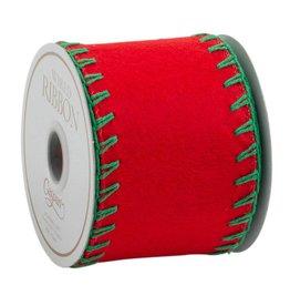 Caspari Wide Red Felt Ribbon with Green Stitch - 4 Yds