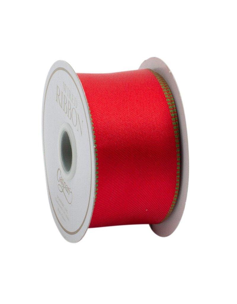 Caspari Red & Green Reversible Ribbon - 8 yds