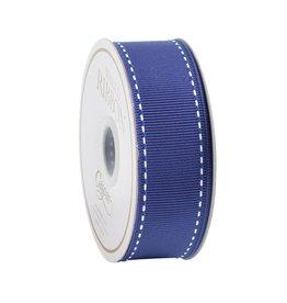 Caspari Marine Blue & White Grosgrain Ribbon - 9 yds