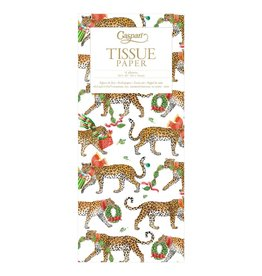 Caspari Christmas Leopards on White Tissue Package 4 Sheets