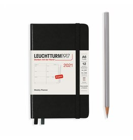 Leuchtturm 2021 A6 Black Hardcover Weekly Pocket Planner