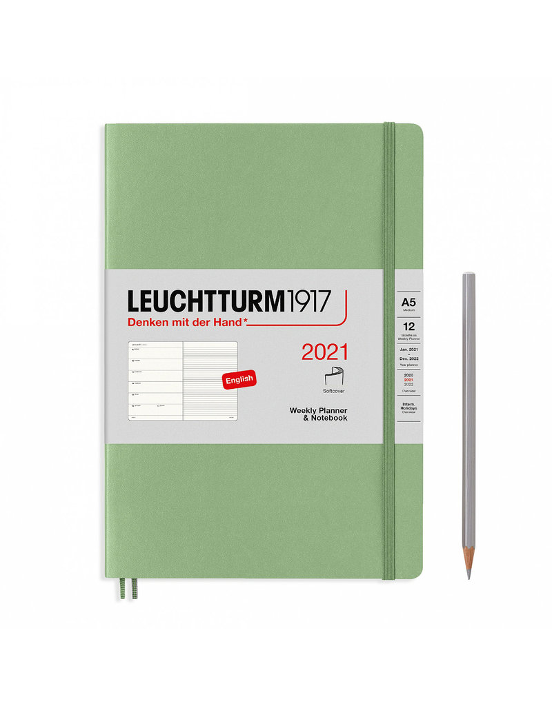 Leuchtturm 2021 A5 Sage Softcover Weekly Planner & Notebook