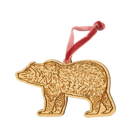 Noteworthy Grizzly Bear Wood Ornament