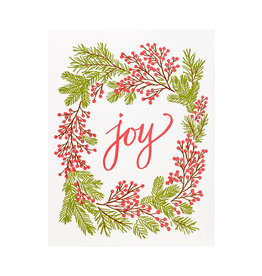 Smudge Ink Joy Berry Wreath Letterpress Cards box of 8