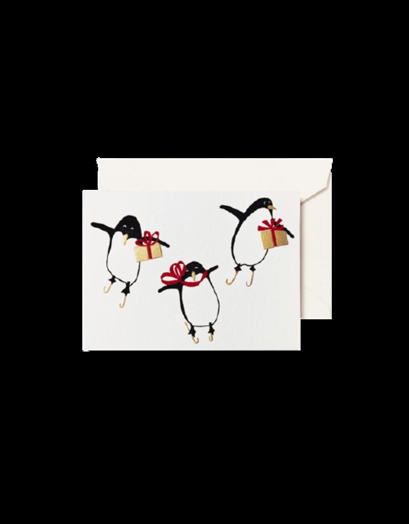 Crane Engraved Penguins Gift Enclosure Card