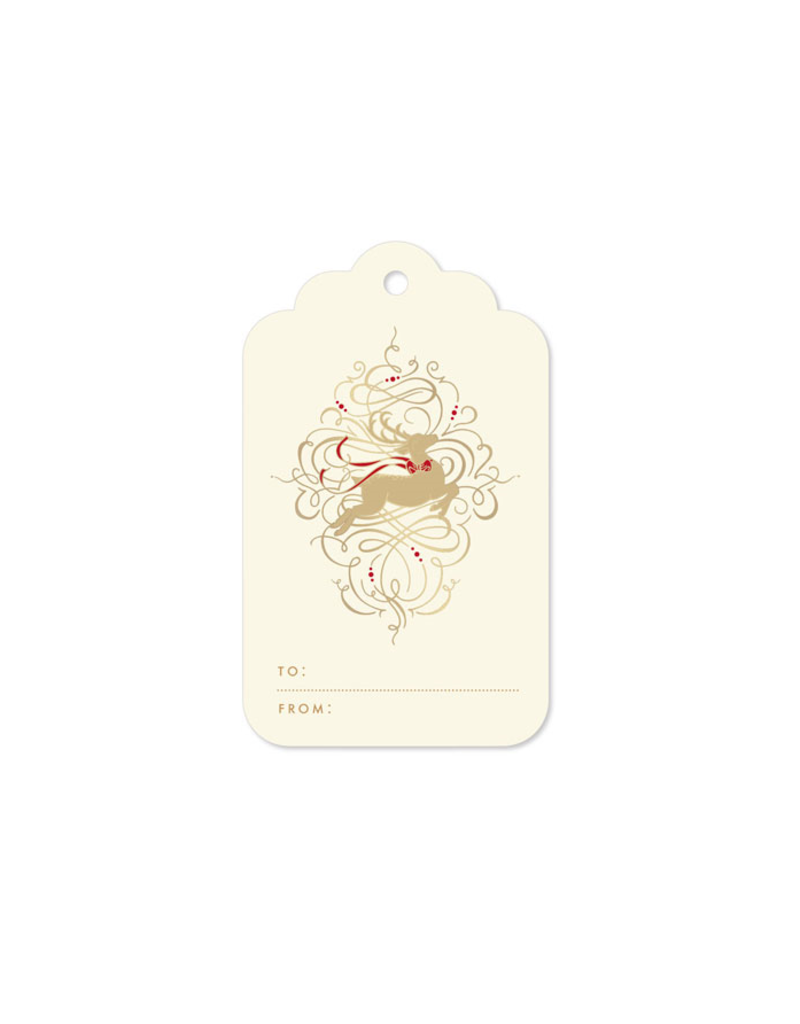 Crane Leaping Reindeer Gift Tag