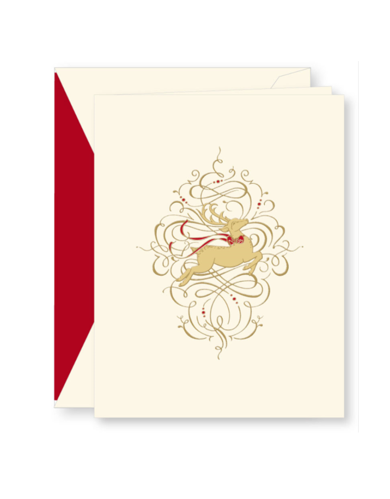 Crane Engraved Leaping Reindeer Holiday Boxed Notes