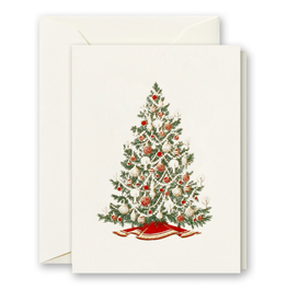 Crane Engraved Christmas Tree Gift Enclosure Card