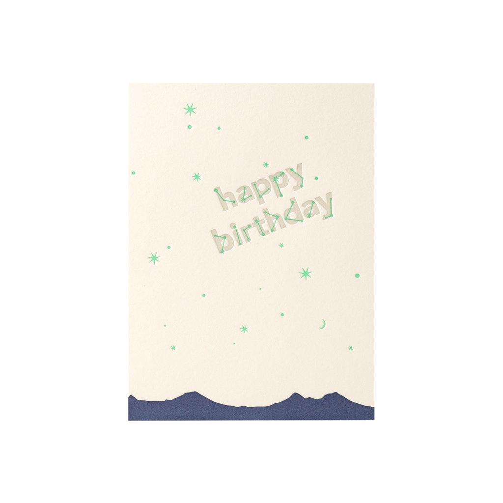 Lark Press Happy Birthday Constellation Letterpress Card