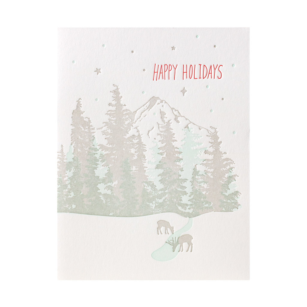 Lark Press Mt Hood Holiday Letterpress Cards Box of 6
