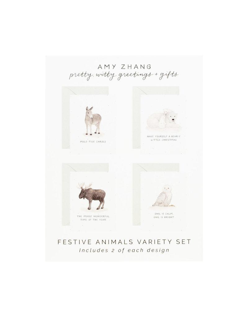 Amy Zhang Festive Animals Holiday Variety box of 8