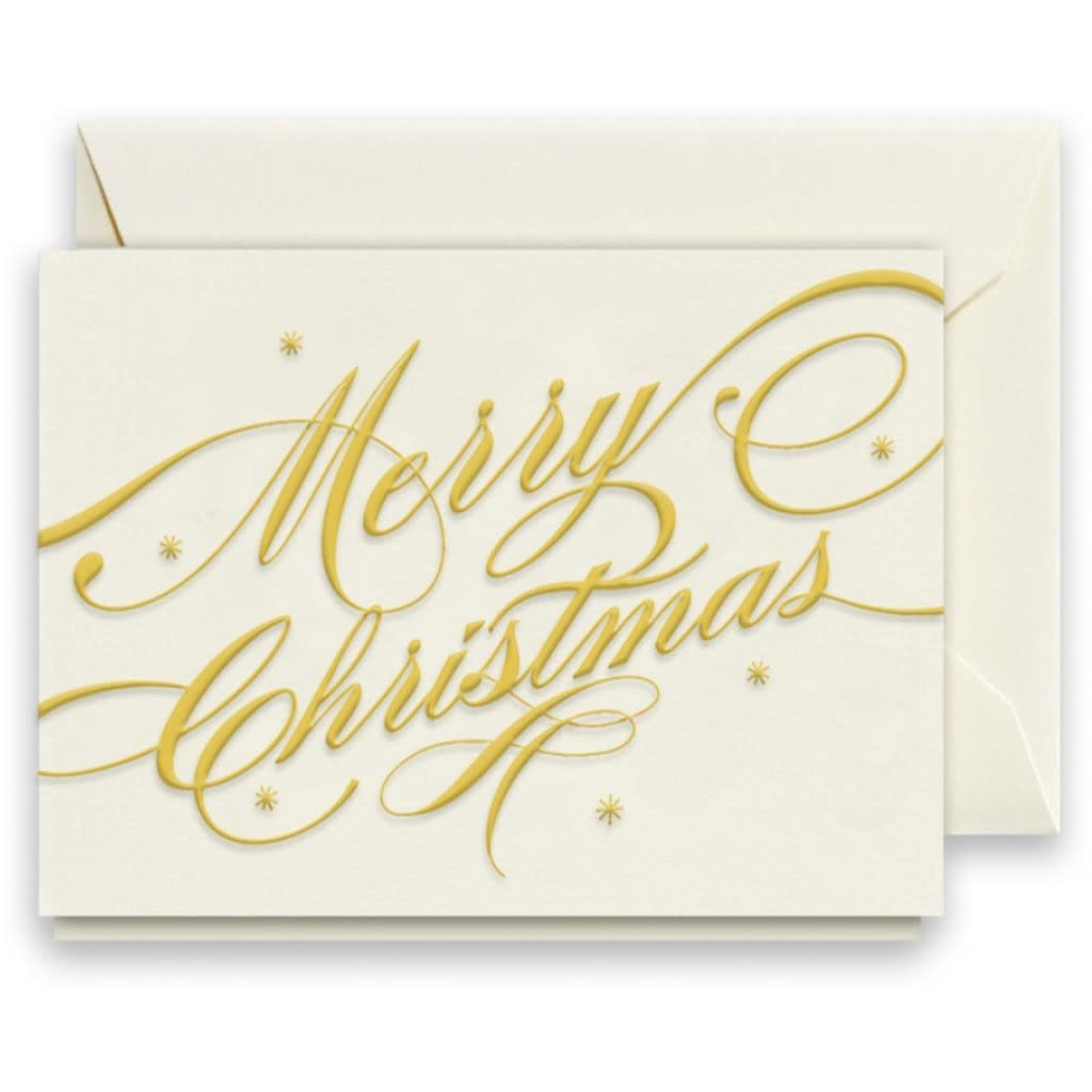 Crane Engraved Merry Christmas Ribbon Gift Enclosure Card